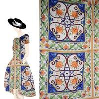 2018 di Modo Chiffon Tessuto Della Stampa di Marca Stile Siciliano porcellana bianca e blu Epoca Royal Jacquard Moda Tessuto 145x145 cm