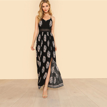 Boho Chic Cami Maxi Spaghetti Strap Sleeveless Dress