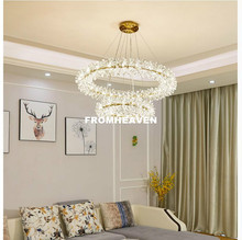 Modern Lustre K9 Crystal Led Pendant Lights Living Room Nordic Modern Pendant Lamp LED AC Hanging Light Fixtures For Dining Room modern nordic rose plant pendant lights led glass hanging lamp for home decor luminaires dining room living room light fixtures