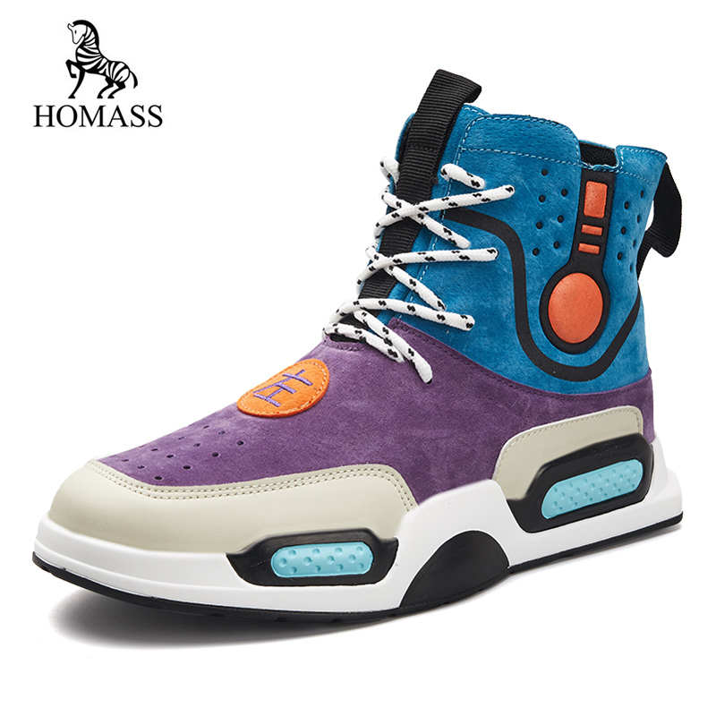 HOMASS Spring Autumn Shoes Men Sneakers Patchwork Men Leather Boots SuperStar Hip Hop Shoes Men High Top Shoes Men Casual Shoes