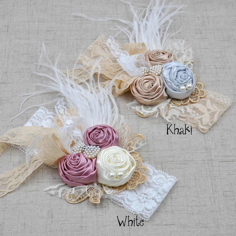 2Colors Vintage Inspired Headband Satin Rosette Hair Band Baby Flower Girl Hair Accessory Kidocheese retail triple satin flower rosettes feather baby headband vintage burlap lace hairband kidocheese