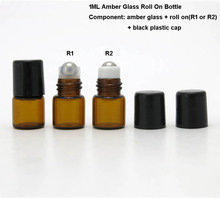100 X 1ml amber glass vials with 2 types roller ball for samples oil,liquid perfume use