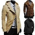 Os recém-chegados venda quente de outono inverno dos homens casuais jaqueta com capuz trespassado casaco jaqueta moda de luxo sólida 4 cores M-XXL