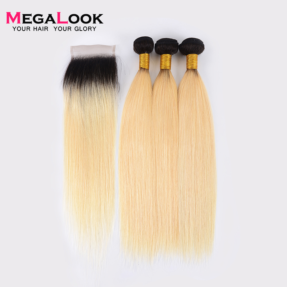 Megalook 1B 613 Hair Bundles with Closure 3pcs Indian Honey Blonde Straight Remy Human Hair with