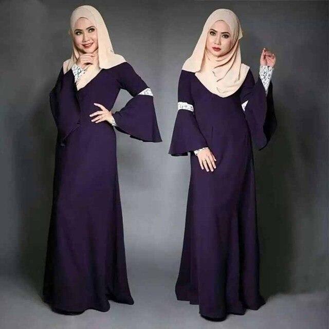 5bc3dcc07068e جديد عباية إسلامية التركية النساء الأخضر الملابس الأزياء الإسلامية الدانتيل  معبد كم فساتين Jilbabs وعبايات رداء