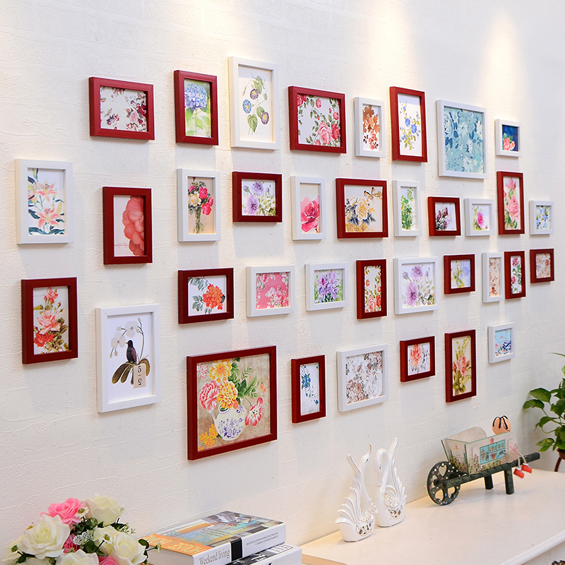Sale modern resin 36pcs vintage picture frame wall diy for Wall picture frames for living room