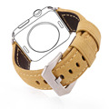 High Quality Genuine Leather Watchband For Apple Watch Series 2&1 38MM/42MM Khaki Belt Watch Strap Men Watch Accessories APB2220
