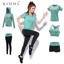 f2359cf3618 Voobuyla 5pcs Yoga Set Women Fitness Running Set T-Shirt Pants Breathable Gym  Workout Clothes Compressed Yoga Legging Sport Suit