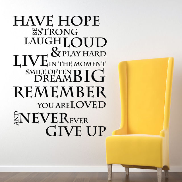 Inspirational Quotes Wall Art have hope inspirational quotes stencil wall stickers,motivational