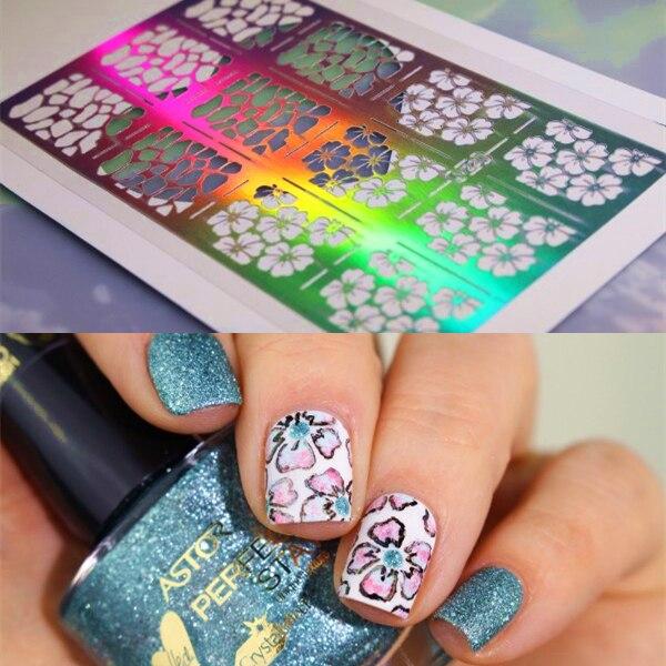 12 Tips 1Sheet Nail Art Vinyls Flower Print Pattern DIY Tips Nail ...