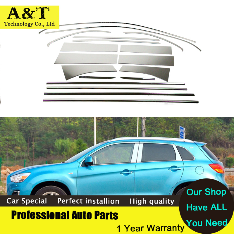 Stainless Steel Styling Full Window Trim Decoration Strips For Mitsubishi ASX 2013 2014 Car Accessories high quality chrome stic stainless steel strips for toyota highlander 2011 2012 2013 car styling full window trim decoration oem 16 8