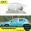 Styling janela guarnição completa decoração tiras de aço inoxidável para mitsubishi asx 2013 2014 acessórios do carro de alta qualidade chrome stic