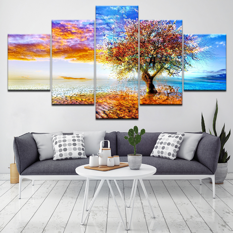 5 Panel Frame Sunset Tree Landscape Home Art Picture Painting Prints On Canvas Home Decor For Bed Room Modern HD Print Artwork