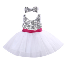 Newborn Baby Kids Girl summer cute sleeveless lace sequined patchwork lace rose red big bow party dress+ big bow headband