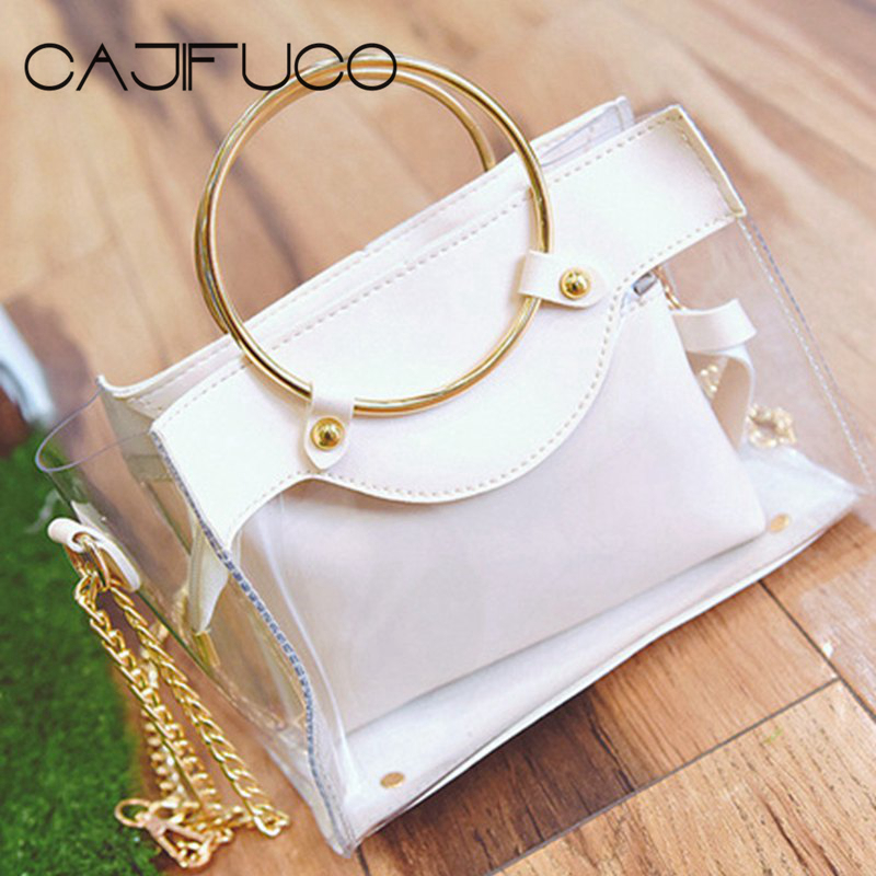 CAJIFUCO 2018 Jelly Cross Body Transparent PVC Sandbeach Bag Clear Bag Makeup Pouch Metal Round Handle Bag Handbag Women clear wood handle bag with sequin pouch