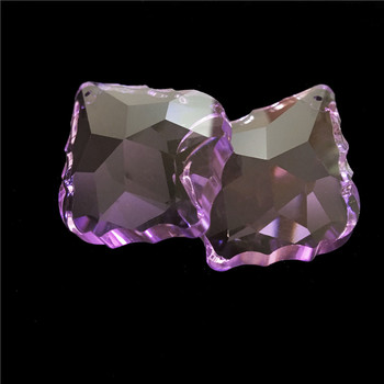 63*42mm 50pc Crystal Violet Crystal Maple Leaf Glass Chandelier For DIY Handicrafts Free Shipping