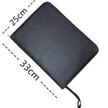 Высокое качество Черный фонтан Ручка-роллер Чехол Держатель Ручки Сумки из искусственной кожи на металлической молнии кожаный чехол для 48 ручки-пенал