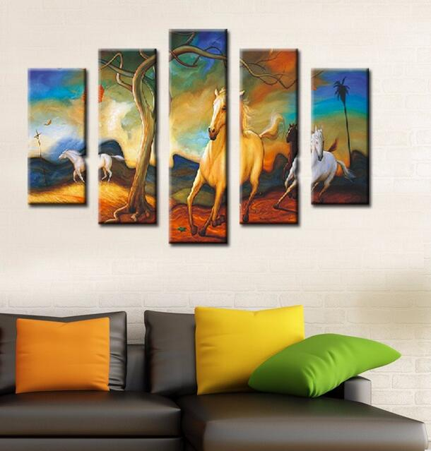 Cuadros Decoracion Unframed 5 Panels Modern Horses Running On The Snow Art  Hd Picture Print Canvas Painting Wall For Home Decor In Painting U0026  Calligraphy ...