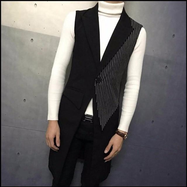 M-4XL Autumn New fashion medium-long men vest outerwear slim vest Stripe stitching Sleeveless vest hairstylist singer costumes