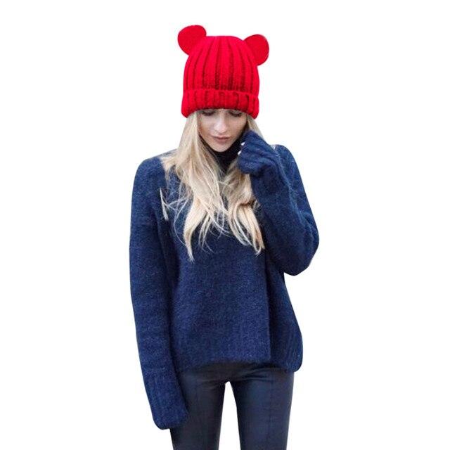 MUQGEW New Women Cap Winter Cute Funny Warm Crochet Winter Hats Wool Knit Ski  Beanie Skull Caps Hat Hairy Bulb Hats For Women 96caad38a3d