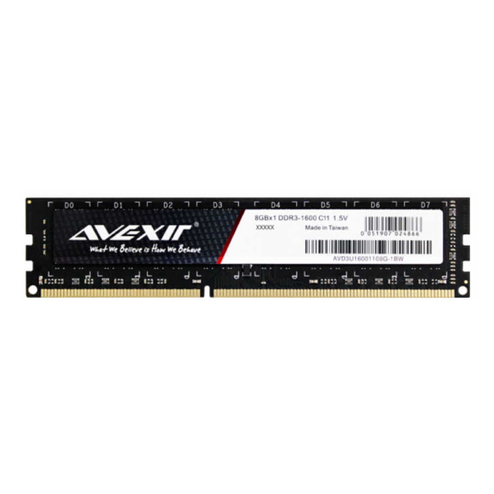 AVEXIR RAM DDR3 4GB / DDR3 8GB Memory Frequency 1600MHz 1.5V Desktop memory Interface Type 240pin 11-11-11-28 CL=11 Single RAMs 4