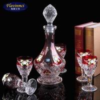Wholesale Lead free Crystal Glass Wine set Enamel European hand Wines