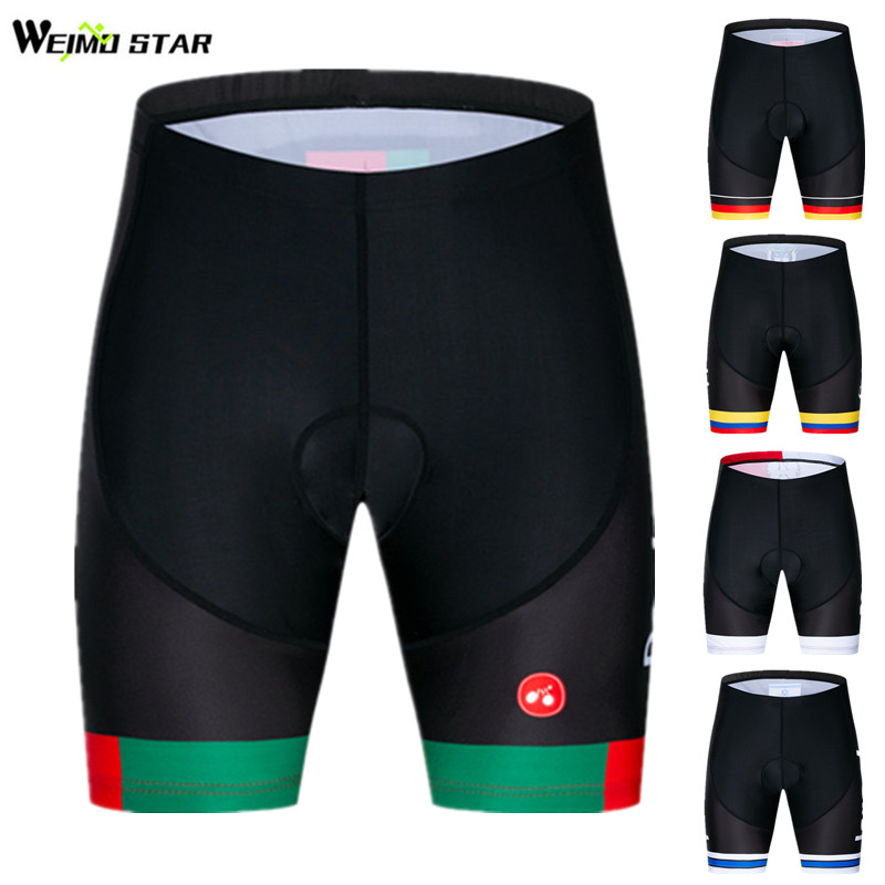 Weimostar National Team Cycling Shorts Coolmax 4D Gel Padded Bicycle Shorts Mountain Shockproof Mtb Bike Shorts Culotte Ciclismo