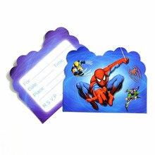 10PCS Cartoon SpiderMan Theme Party Supplies Happy Birthday Decoration Invitation Card For Kids Boys Favors