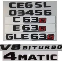 2017-2019 Flat Gloss Glossy Black Trunk Sides Letters Emblem Emblems Badge for Mercedes Benz AMG A C E S GLE CLS C63s V8 BITURBO