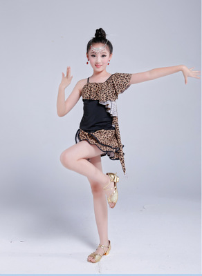 Latin Leopard Mini Dress Girls Party cosplay Dance Costume Perform Children Christmas Halloween Gift Salsa Dancewear Kids set 3colors 100 160cm height kids child girls tassel dress ballroom latin salsa fashion dancewear dance costume dresses gifts