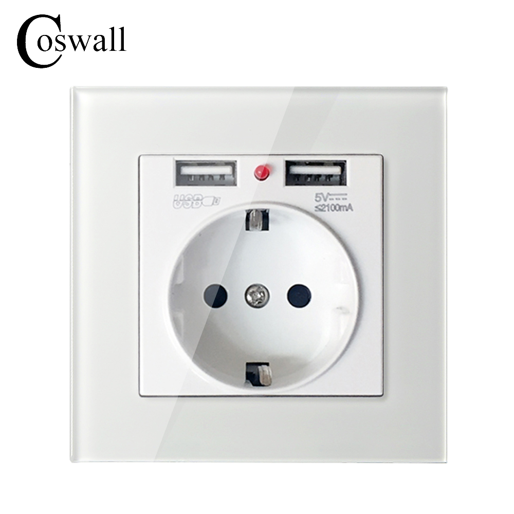 Coswall Crystal Glass Panel Dual USB Charging Port 2.1A Wall Charger Adapter 16A EU Socket Power Outlet White/Black/Gold/Red