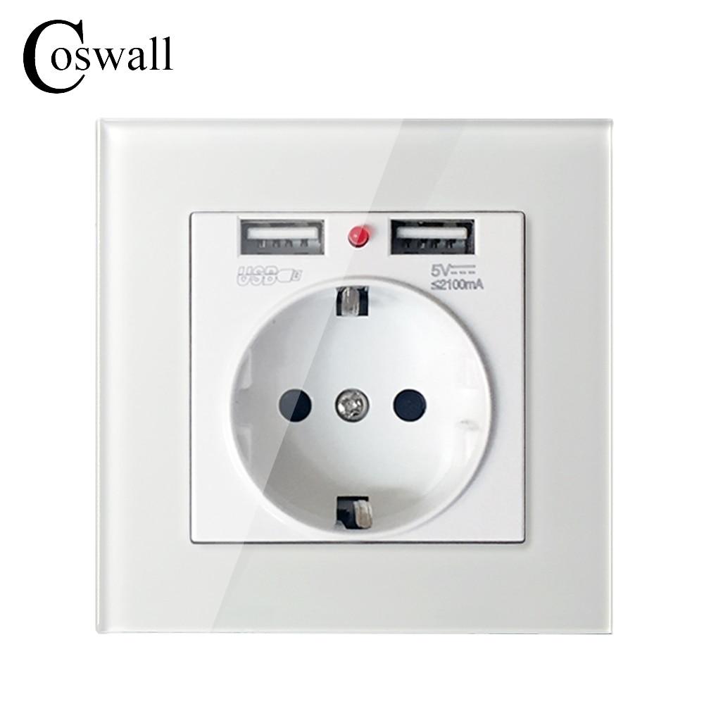 Coswall cristal Panel Dual USB puerto de carga 2.1A adaptador de cargador de pared 16A enchufe de la UE Blanco/Negro/oro/rojo