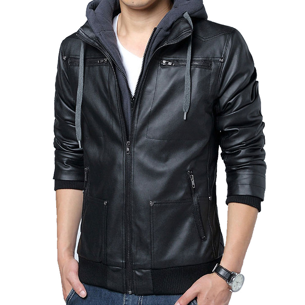 Free Shipping Tujuh Winter Removable Hooded Coat Mens Hoody Jackets Outwear Slim Fit Leather Jacket Man Transverse Leather Coats In Faux Leather Coats From