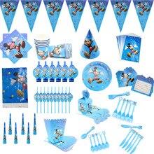 Mickey mouse feliz aniversário decorações de festa descartáveis utensílios de mesa prato de palha guardanapos menino azul festa suprimentos chá de fraldas