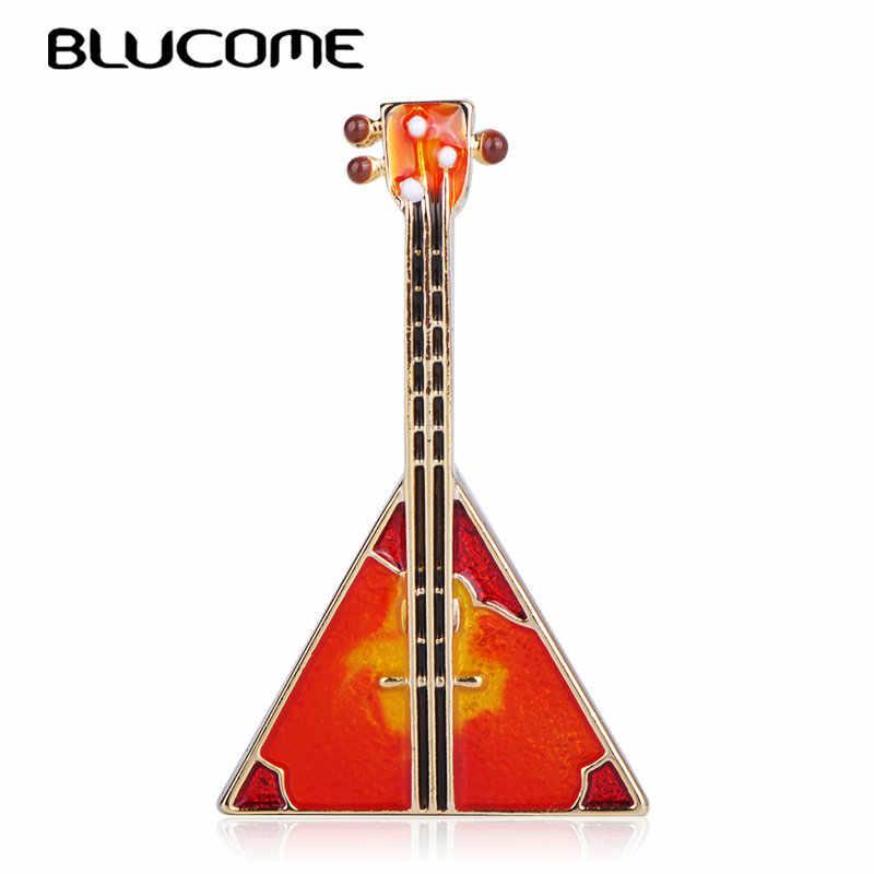Blucome クリエイティブミュージカル三角形ギター形のブローチエナメルゴールドカラージュエリー女性ガールアパレルスカーフ帽子バッグピンアクセサリー