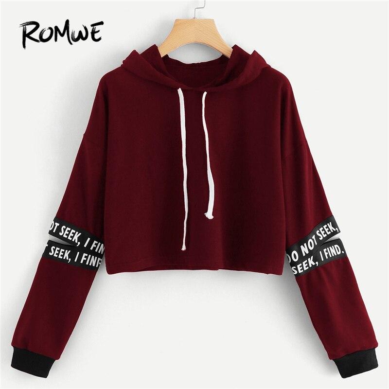 Women's Clothing Dutiful Romwe Burgundy Random Letter Tape Split Sleeve Crop Sweatshirt Women Casual Autumn Long Sleeve Hooded Clothing Pullovers Hoodie Good Taste