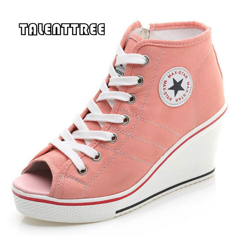 Women Wedges Badge High Top Platform Shoes Woman RED Black Casual Trainers Elevator Shoe High Heels Canvas Shoes Large size shoe large size 8cm high 2016 women casual canvas shoes woman platform wedges high top with zippers ladies zapatos mujer espadrilles