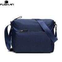 FUSHAN New Fashion Man Bag High Quality Nylon Men Messenger Bags Black Famous Brand Waterproof Male