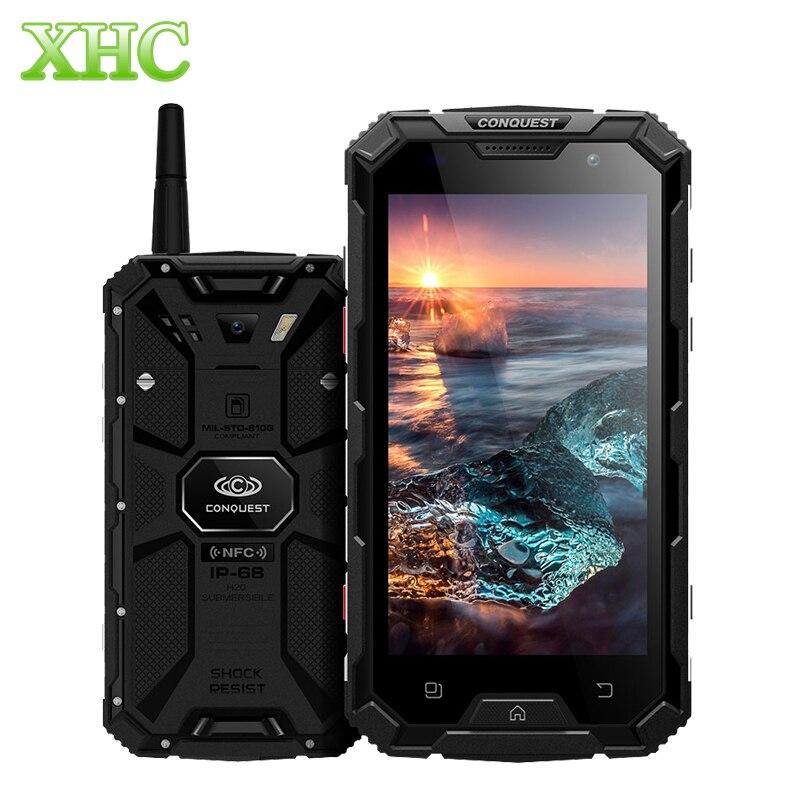 Conquête S8 Plus 4 GB + 64 GB Talkie Walkie Smartphones IP68 Étanche D'empreintes Digitales ID 5.0 pouce Android 6.0 Octa Core Mobile Téléphones
