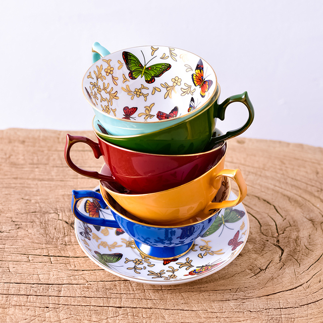 Ceramic Butterflies Cup and Saucer