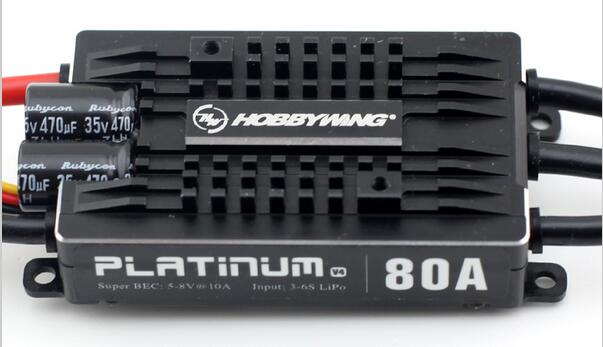 HobbyWing Platinum 80A V4 ESC 3S-6S BEC 5-8V 10A for 450L-500 Class Heli RC Drone Aircraft Helicopter