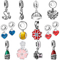WYBEADS Silver Charm Enamel Heart Pendant CZ Charms European Fit Bracelets & Bangle DIY Accessories Jewelry Original Making
