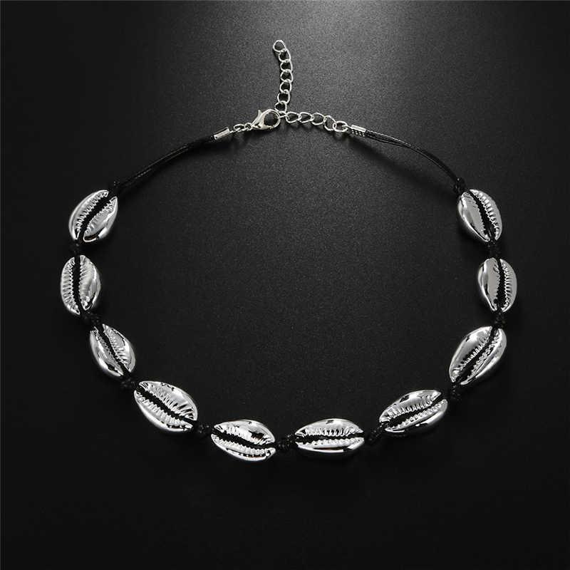 shshd Новая мода цепочка на шею Богемное натуральное ожерелье ввиде Каури, для женщин, Очаровательное ожерелье цепочки, воротник-чокер, Пляжное богемное летнее ожерелье, ювелирные изделия ожерелье Дропшиппинг