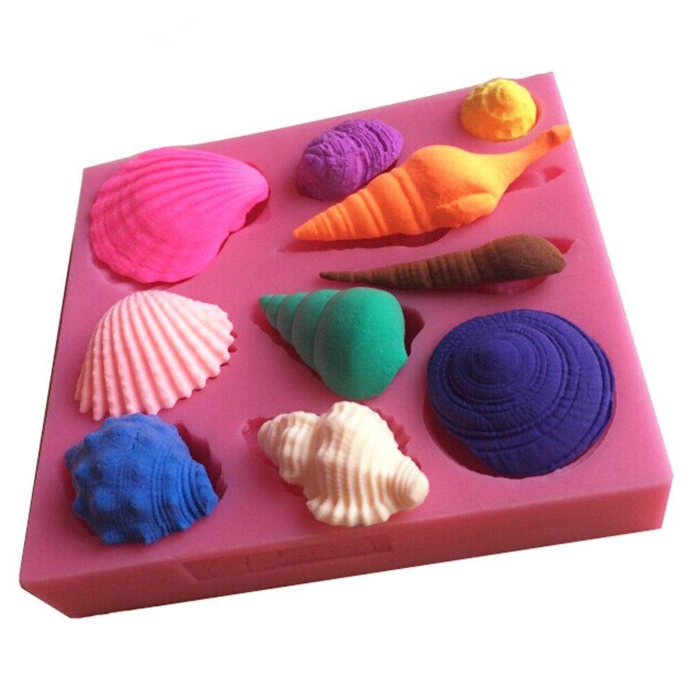 Hermosa mar shell y concha forma de silicona 3d molde utensilios de cocina comedor bar - Utensilios de cocina de silicona ...