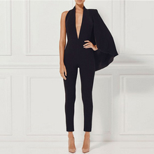 Seamyla 2019 New Fashion Runway Jumpsuit Overalls for Women Black Sexy Backless Bodycon Bod
