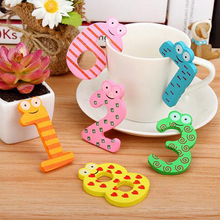 10 Pcs/Lot Wooden Fridge Magnet Sticker 0-9 Numbers Educational Colorful Baby Child Toy