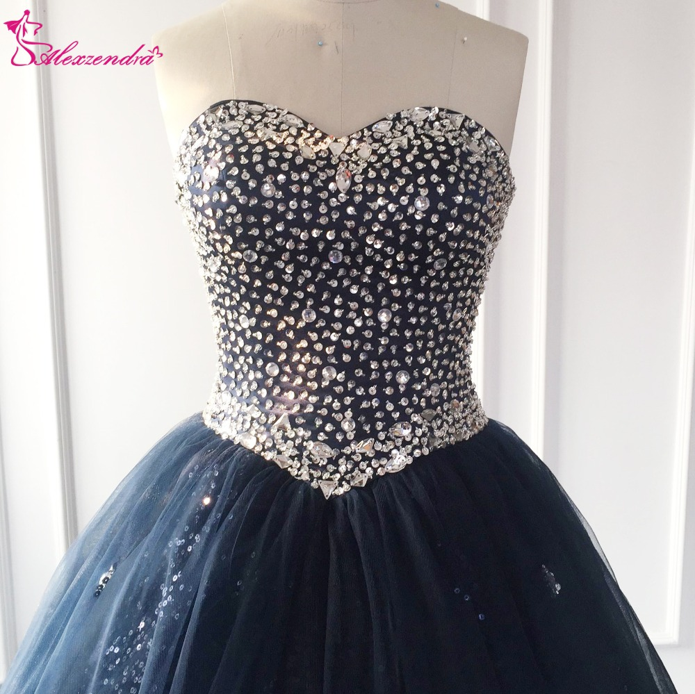 Alexzendra Navy Blue Beads Bodice Ball Gown Long   Prom     Dresses   Crystals Fashion Evening Gowns Party   Dress   Plus Size