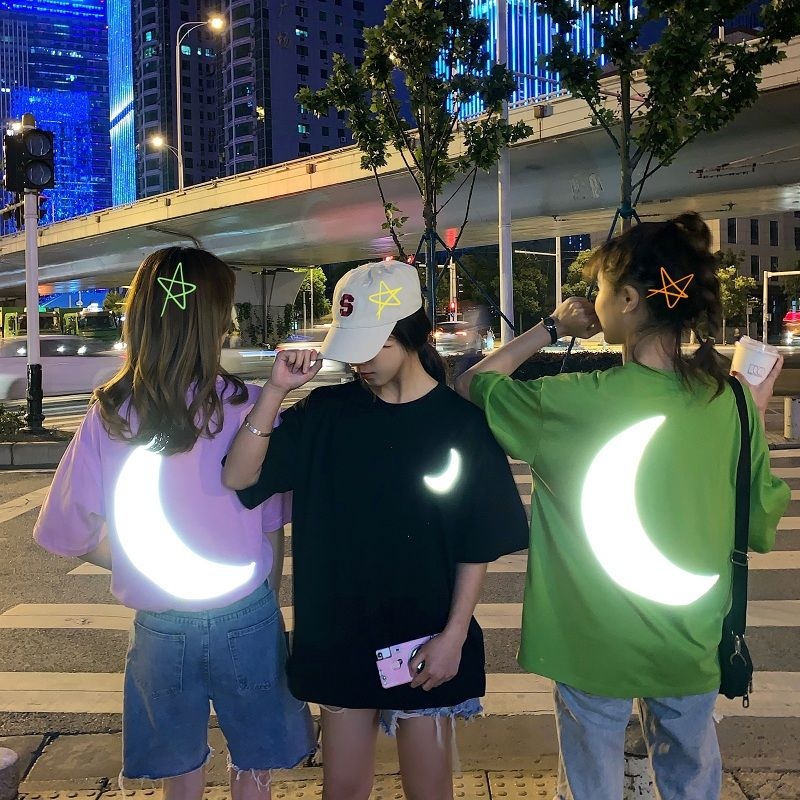 Women T Shirts Moon Reflect Light In Night O-neck Tees Ins Students T Shirts Loose Tops Women Summer Clothing Short Sleeve
