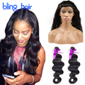 8A Brazilian 360 Lace Frontal With Bundles Pre Plucked 360 Frontal With Bundles Body Wave Human Hair Bling Hair 360 Lace Frontal