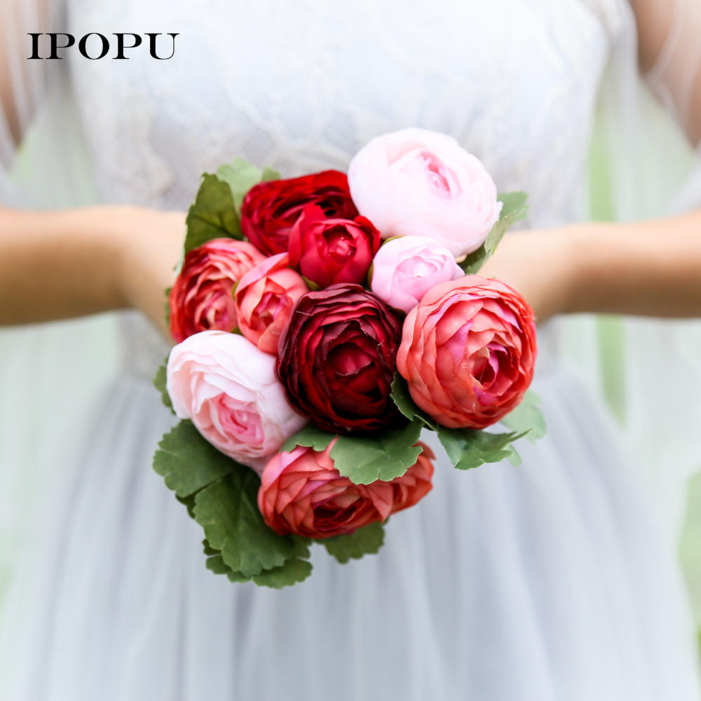 10pcs Rose Camellia Silk Flower Artificial Flowers Hands Holding Bridal Bridesmaid Bouquet Latex Real Touch Floral Wedding Party